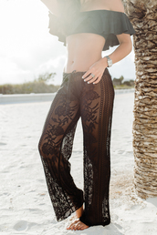 pants,tumblr,black pants,wide-leg pants,lace,see through,top,bikini,bikini top,black bikini,swimwear