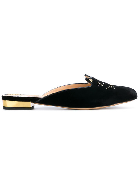 charlotte olympia women slippers leather black shoes