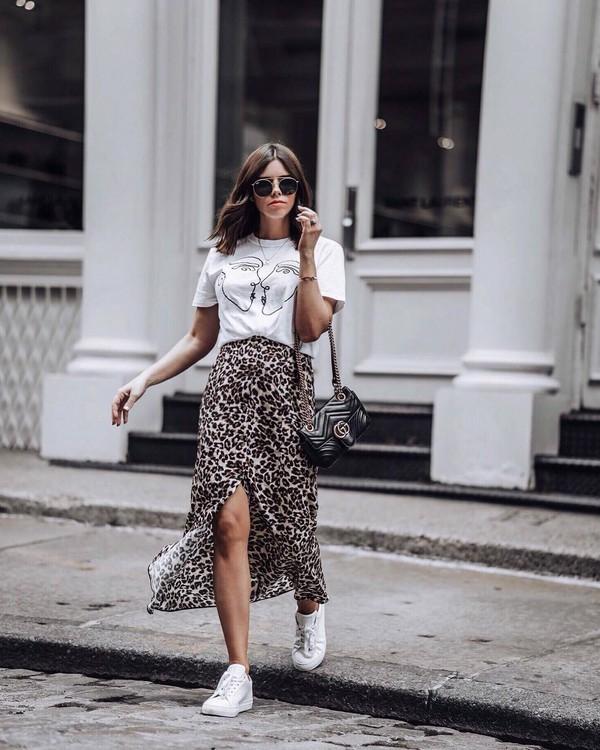 skirt midi skirt leopard skirt top white top shoes abg bag sunglasses