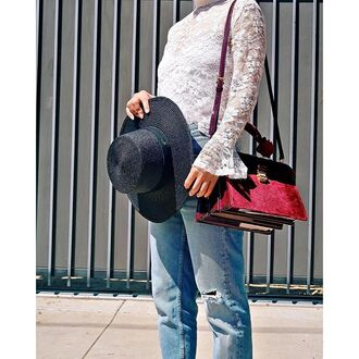 bag tumblr velvet red bag white lace top lace top white top bell sleeves denim jeans blue jeans hat black hat