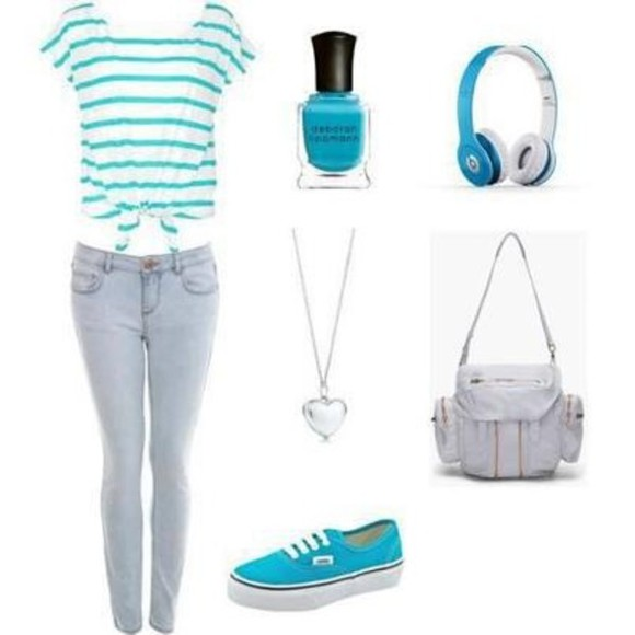 headphones jeans bag shirt blue skinny jeans shoes necklace should strap bag nail polish neon blue converse