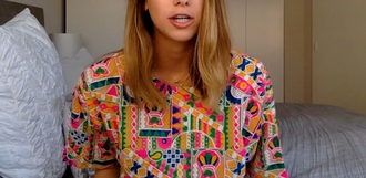 top lucy fink embroidered sequin shirt colorful