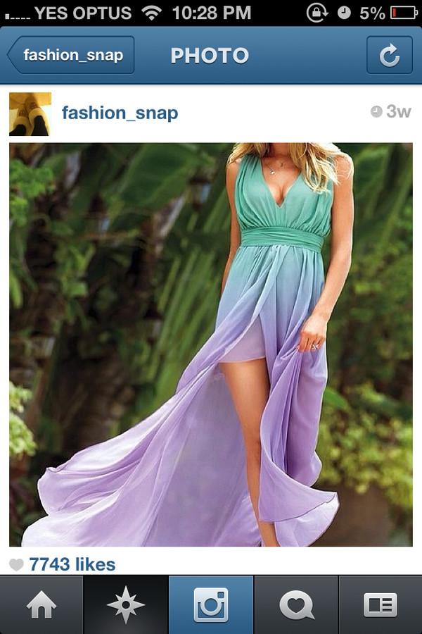mint dress lilac flowy dress