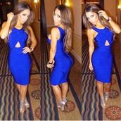 dress,bodycon,bodycon dress,bandage dress,herjunction,party dress,electric blue,instagram,instagram dress