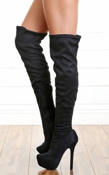 Anne Michelle Oscar-08 Black Suede Thigh High Boots-MakeMeChic.com
