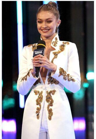 coat white gigi hadid model embroidered jacket