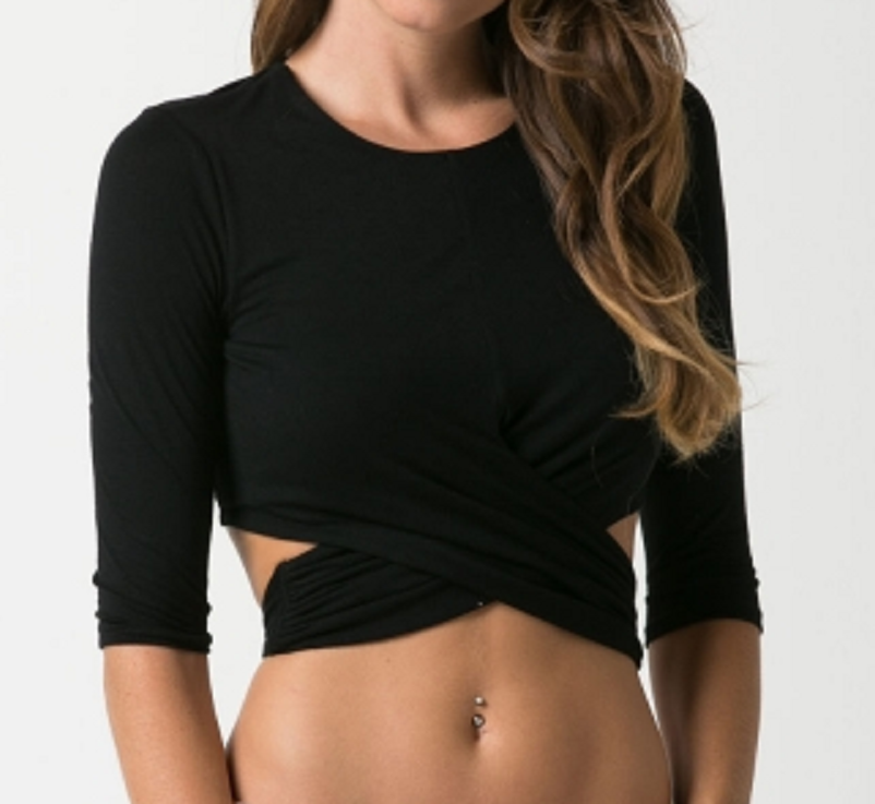 3/4 sleeve tie back crop top