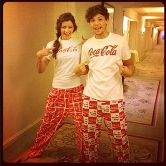 pajamas white red coca cola one direction louis tomlinson pyjamas.