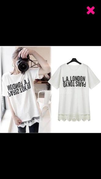 shirt white la london tokio paris