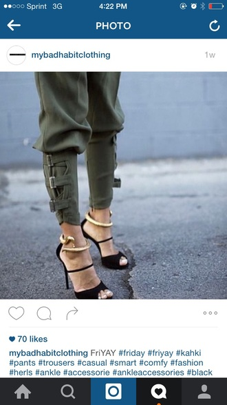 pants olive green chic blogger style buckles shoes