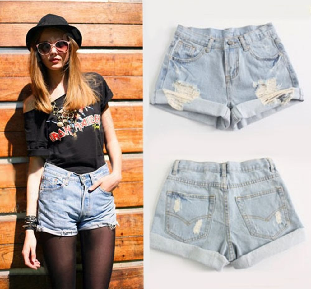 High Waist Retro Girls Ripped Flange Hole Wash White Jean Denim ...