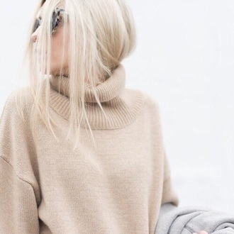 sweater turtleneck beige winter outfits winter sweater