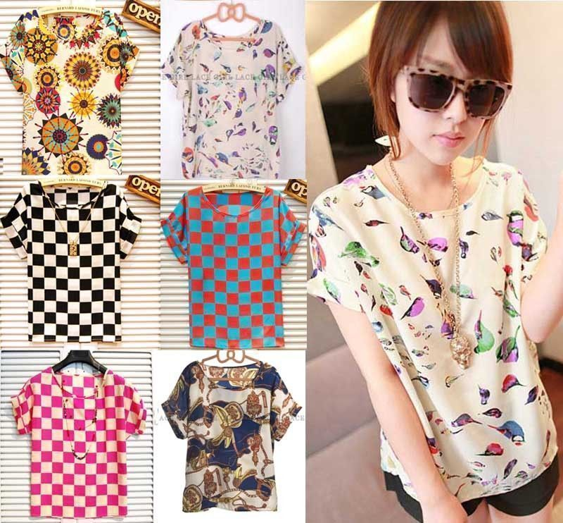 Women Floral Chiffon Blouse Sheer Top Casual Batwing Short Sleeve