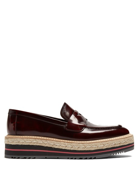 Prada loafers leather burgundy shoes