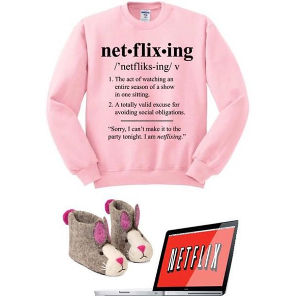 shirt pink sweatshirt netflix sweater pink sweater