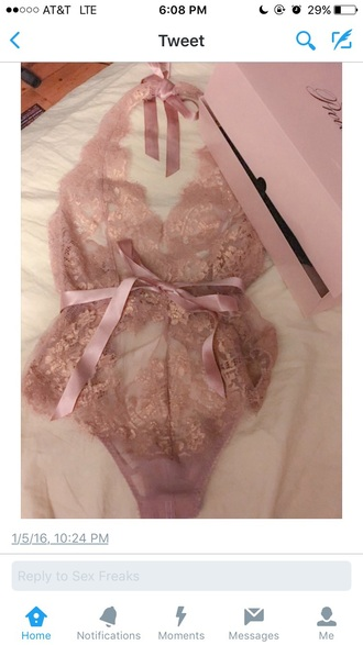 underwear lace nude pink sexy cute lingerie one piece bow