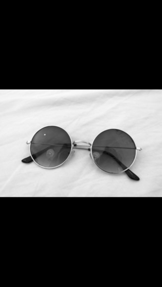 tumblr silver sunglasses black round shiny