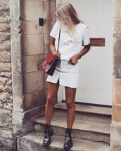 t-shirt,skirt,boots,tumblr,logo tee,white t-shirt,mini skirt,white skirt,ankle boots,bag,red bag,shoes,slogan tee,denim skirt,blogger,blogger style,shoulder bag