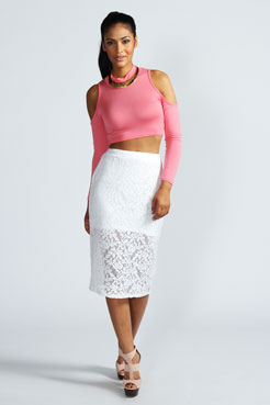 Nina Floral Lace Midi Tube Skirt at boohoo.com