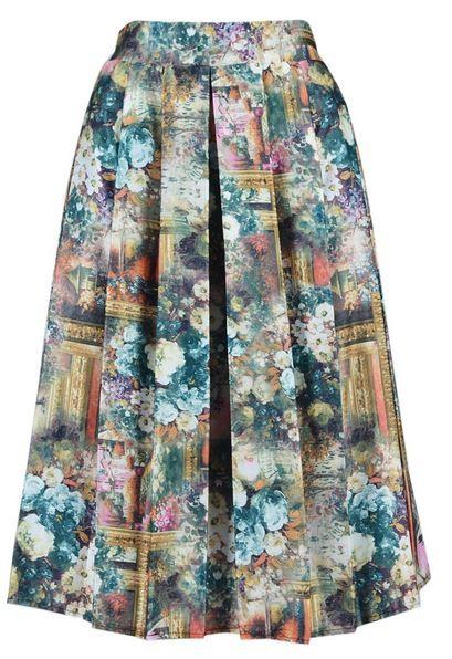 Vintage Oil Painting Print Elastic Waist Skirt