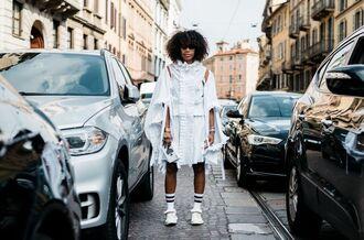 dress fashion week street style fashion week 2016 fashion week milan fashion week 2016 white dress ruffle ruffle dress streetstyle socks sunglasses clutch sneakers white sneakers bracelets