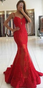 dress,red,lace,mermaid prom dress