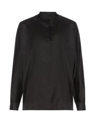 blouse silk black top