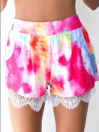 shorts watercolor lace multicolor rainbow