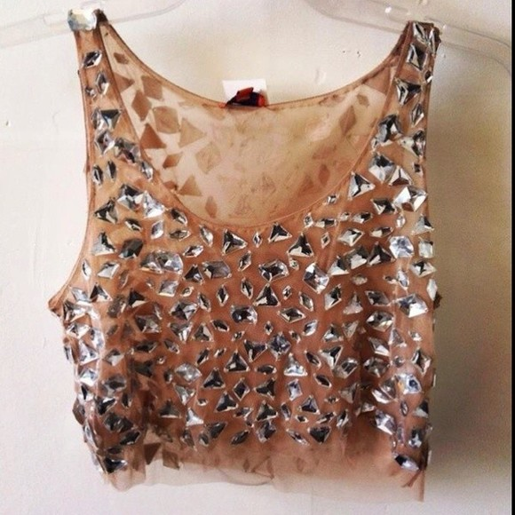 girly top crop tops sparkly gold rhinestones shirt sheer nude sparkle crystal crop tops diamond shirt diamonds