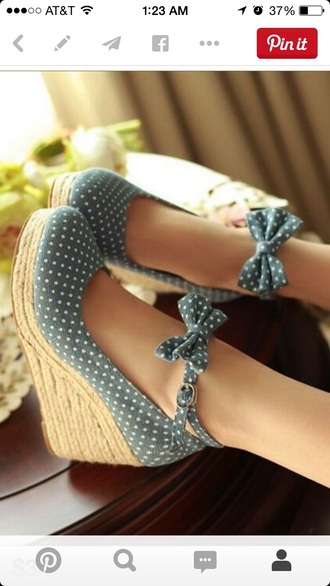 shoes wedges blue polka dots jeans bow