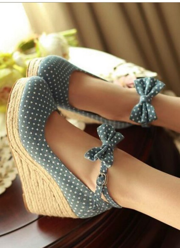 Shoes Wedges Blue Polka Dots Jeans Bow Wheretoget