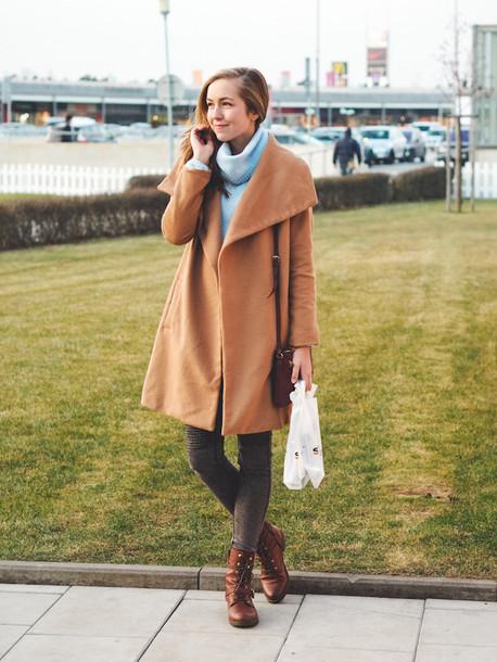 a cup of style blogger light blue turtleneck camel coat combat boots coat sweater pants bag shoes