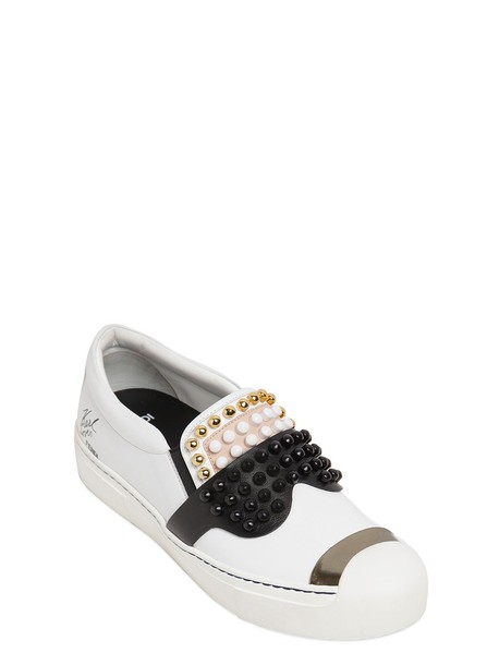 Fendi studded sneakers leather white black shoes