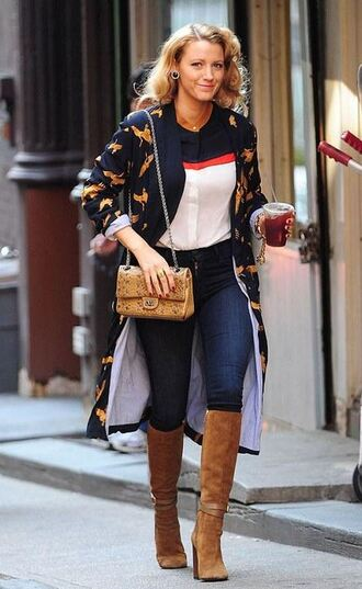 shoes boots fall outfits blouse denim jeans blake lively