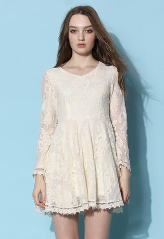 dress chicwish lace dress chicwish.com baroque dress embroidered dress ivory dress