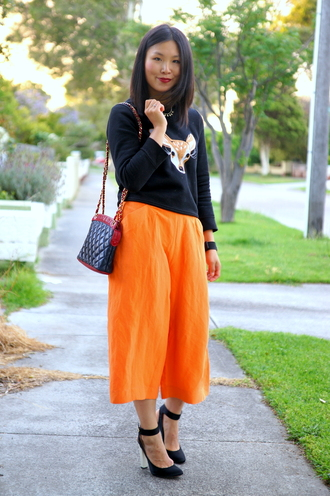 cecylia blogger bag jewels deer black heels orange jumper culottes