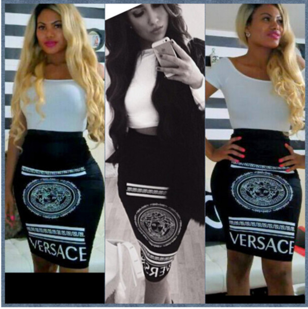 black skirt brand skirt versace versace skirt printed skirt pencil skirt