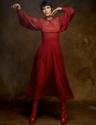 dress midi dress boots bella hadid model editorial long sleeve dress red dress red vogue