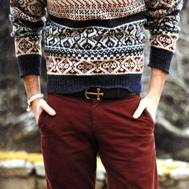 jeans menswear sweater fall outfits hipster hipster menswear pants sailor mens belt mens cable knit jumper belt belt brown anchor menswear fair isle