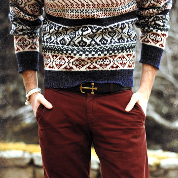 jeans menswear sweater fall outfits hipster hipster menswear pants sailor mens belt mens cable knit jumper menswear fair isle belt belt brown anchor