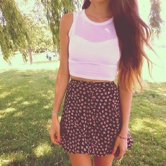 skirt floral floral skirt skater skater skirt white tank top mesh crop tops high waisted skirt blouse