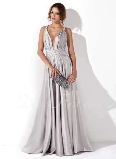 [US$ 146.99] A-Line/Princess V-neck Floor-Length Charmeuse Evening Dress With Ruffle (017020657)