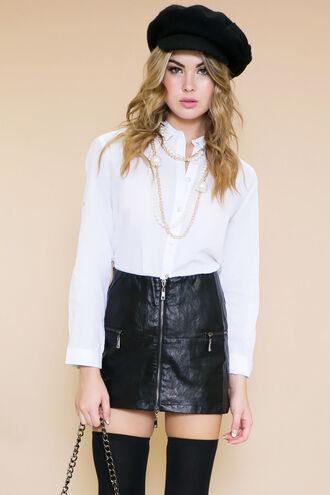 blouse haute & rebellious school girl french leather skirt boy bag chiffon chiffon shirt chiffon blouse necklace bag jewels