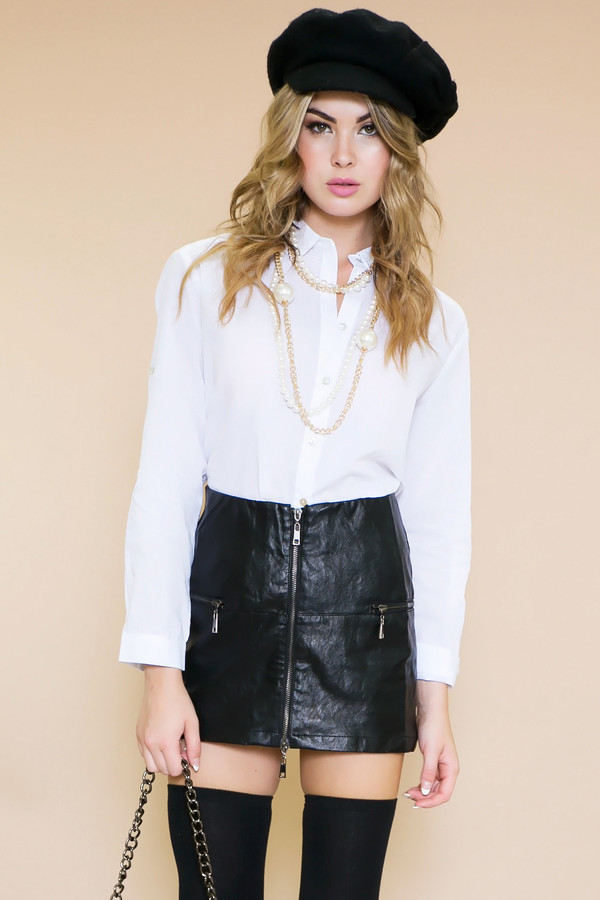 blouse haute & rebellious school girl french leather skirt boy bag chiffon chiffon shirt chiffon blouse necklace bag jewels