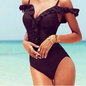 swimwear,v style,shoulder,black,ruffle swimsuit