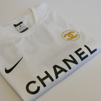 shirt chanel nike white black