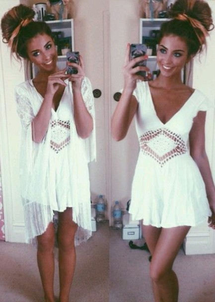 dress white dress crochet light dress summer dress beautiful cardigan white boho cut-out lace v neck sleeves short