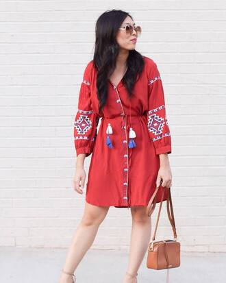 dress tumblr mini dress red mini dress red dress button up embroidered embroidered dress bag sunglasses