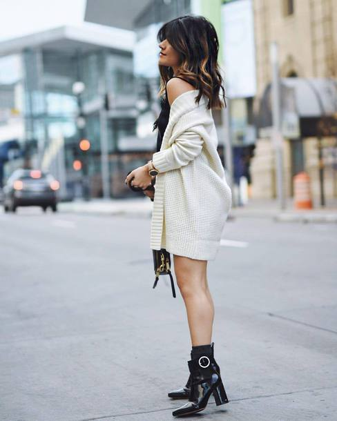 cardigan tumblr white cardigan boots black boots ankle boots patent shoes patent boots