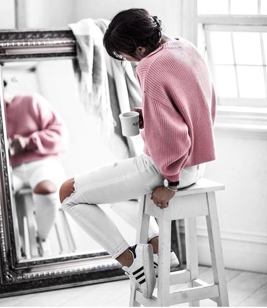 Cheap For Discount D09eb 9d953 Pink Sweater White Jeans Outfit